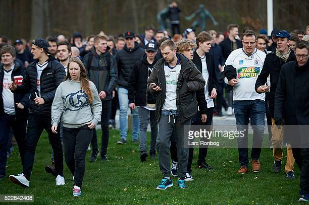 Fans of AGF Aarhus arriving to the stadium prior to the Danish Cup DBU Pokalen semifinal match between AGF Aarhus and AaB Aalborg at Ceres Park on...