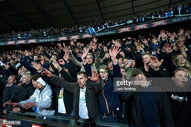 Fans of AGF Aarhus celebrate and cheer after the Danish Cup DBU Pokalen semifinal match between AGF Aarhus and AaB Aalborg at Ceres Park on April 21...