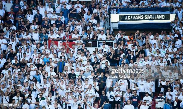 Fans of AGF Aarhus during the Danish Alka Superliga Europa League Playoff match between FC Copenhagen and AGF Aarhus at Telia Parken Stadium on May...