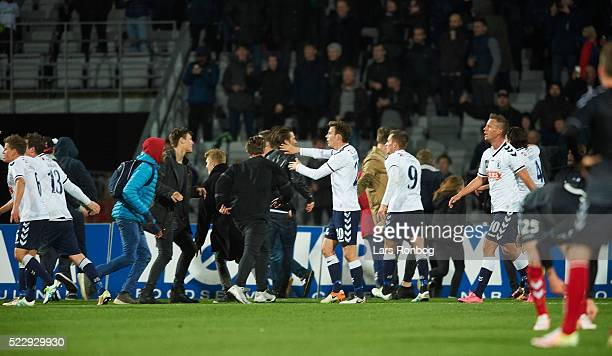 Fans of AGF Aarhus run on to the pitch after the 22 goal during the Danish Cup DBU Pokalen semifinal match between AGF Aarhus and AaB Aalborg at...