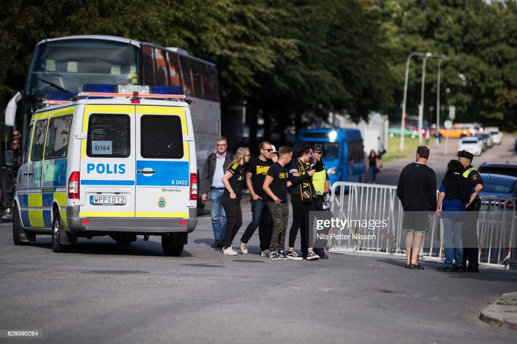 Fans of AIK ahead of the Allsvenskan match between IFK Goteborg and AIK at Gamla Ullevi on August 10, 2017 in Gothenburg, Sweden.