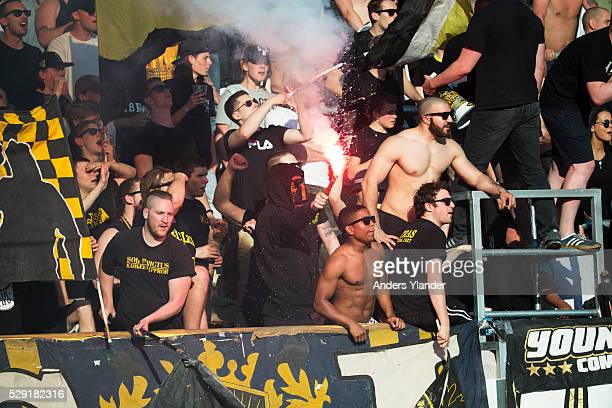 Fans of AIK burning bengals during the Allsvenskan match between BK Hacken and AIK at Bravida Arena on May 8 2016 in Gothenburg Sweden