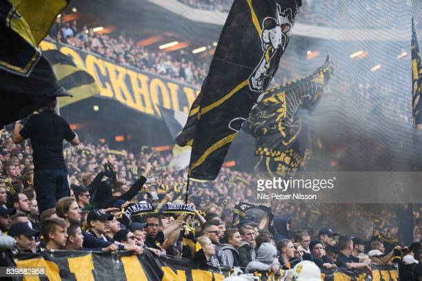 Fans of AIK during the Allsvenskan match between AIK and Djurgardens IF at Friends arena on August 27 2017 in Solna Sweden