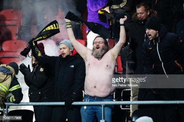 Fans of AIK during the Allsvenskan match between Ostersunds FK and AIK at Jamtkraft Arena on November 1 2018 in Ostersund Sweden
