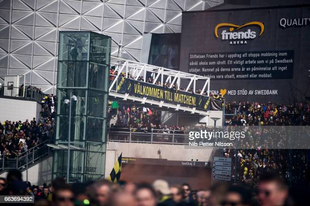 Fans of AIK welcomes the bus with the players of AIK ahead of the Allsvenskan match between AIK and BK Hacken at Friends arena on April 2 2017 in...