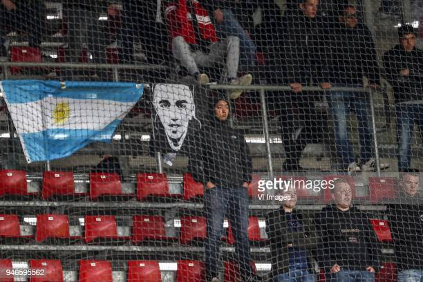 fans of Ajax flag of Abdelhak Nouri of Ajax during the Dutch Eredivisie match between PSV Eindhoven and Ajax Amsterdam at the Phillips stadium on...
