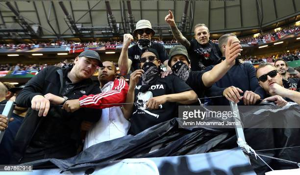 fans of Ajax looks on UEFA Europa League Final match between Ajax against Manchester United at Friends Arena on May 24 2017 in Stockholm Sweden