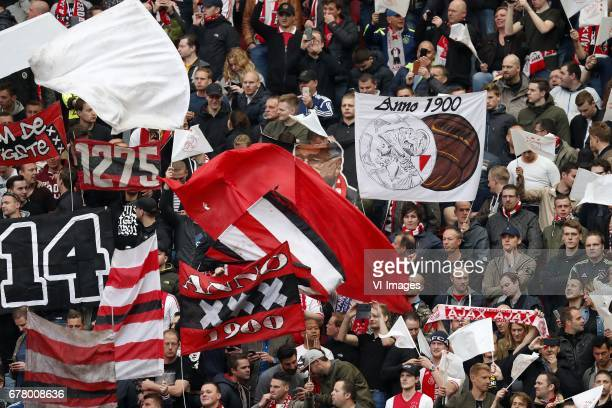 fans of Ajaxduring the UEFA Europa League semi final match between Ajax Amsterdam and Olympique Lyonnais at the Amsterdam Arena on May 03 2017 in...