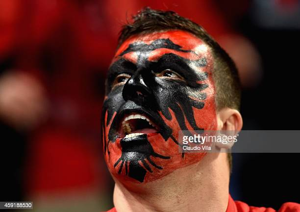 A fans of Albania is seen with his face painted prior to the International Friendly match between Italy and Albania at Luigi Ferraris on November 18...