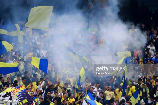 Fans of America celebrate after the third goal of his team during the semifinal second leg match between America and Pumas UNAM as part of the Torneo...