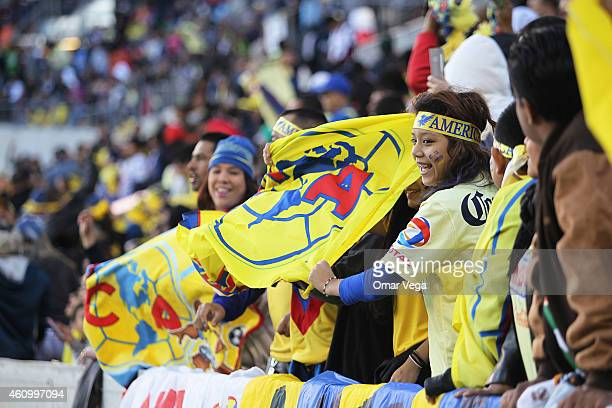 Fans of America cheer for their team during a friendly match between America and Monterrey at BBVA Compass Stadium on January 03 2015 in Houston...