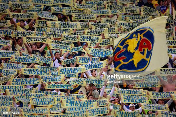 Fans of America cheer for their team during the semifinal second leg match between America and Pumas UNAM as part of the Torneo Apertura 2018 Liga MX...