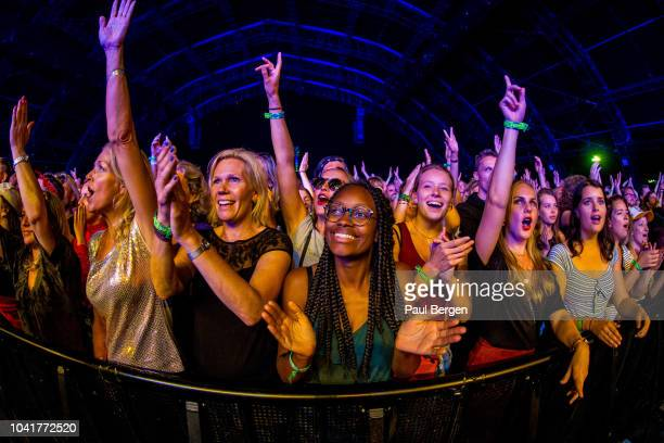 Fans of American funk, rock and hiphop band NERD in the front rows of the crowd at Lowlands festival, Biddinghuizen, Netherlands, 18th August 2018.