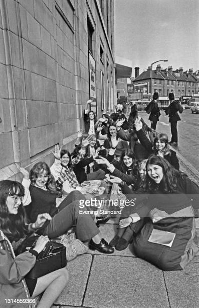 Fans of American group the Osmonds outside the Rainbow Theatre in Finsbury Park, London, before a concert, UK, 26th September 1973.
