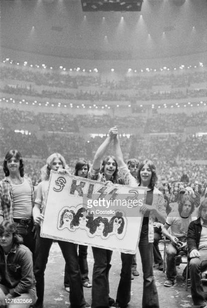 Fans of American hard rock band KISS at a concert by the band in Detroit Michigan May 1975