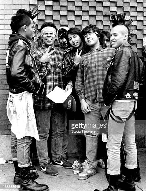Fans of American hardcore punk band Suicidal Tendencies wait in line for a show at Medusas in Chicago Illinois USA 3rd May 1987