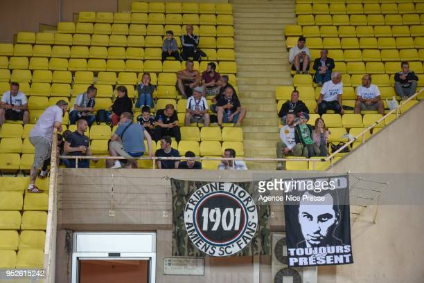 Fans of Amiens during the Ligue 1 match between AS Monaco and Amiens SC at Stade Louis II on April 28 2018 in Monaco