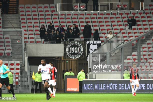Fans of Amiens during the Ligue 1 match between Nice and Amiens at Allianz Riviera Stadium on January 13 2018 in Nice France