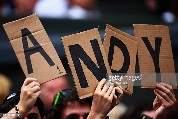 Fans of Andy Murray of Great Britain during his Gentlemen's Singles fourth round match against Kevin Anderson of South Africa on day seven of the...