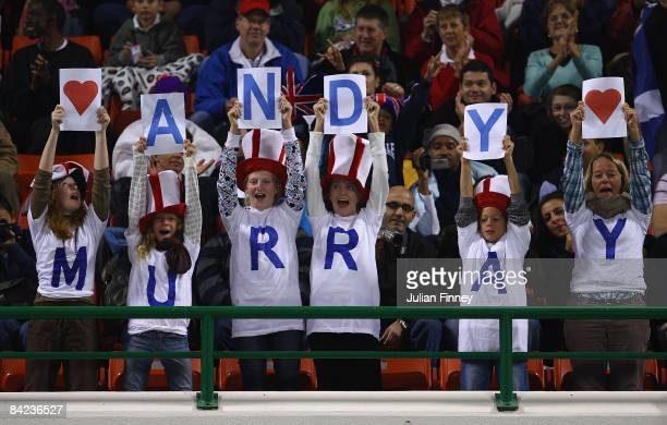 Fans of Andy Murray of Great Britain give their support as he takes on Andy Roddick of United States in during the final of the Exxon Mobil Qatar...