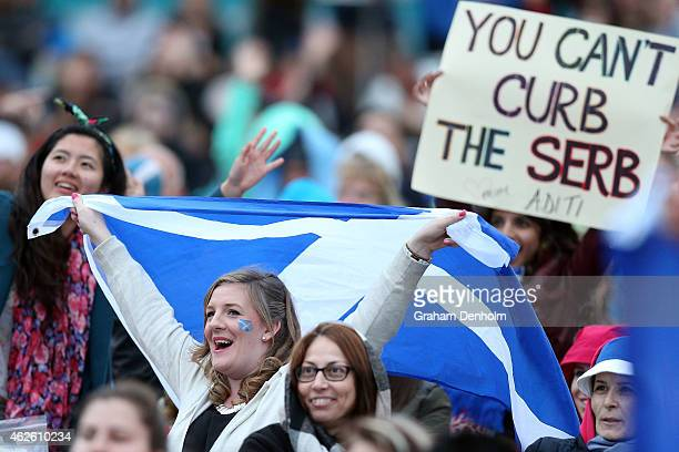 Fans of Andy Murray of Great Britain support him in his men's final match against Novak Djokovic of Serbia during day 14 of the 2015 Australian Open...