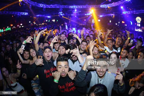 Fans of Anuel AA fan's react during a concert as part of the 'Real Hasta la Muerte' tour at Far West on November 9 2018 in Dallas Texas