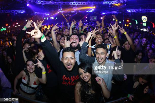 Fans of Anuel AA fan's react during a concert as part of the 'Real Hasta la Muerte' tour at Far West on November 9, 2018 in Dallas, Texas.