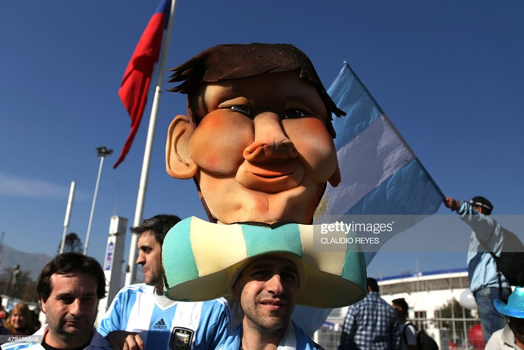 Fans of Argentina arrive at the Nacional stadium for the Copa America final match Chile vs Argentina on July 4, 2015 in Santiago, Chile.