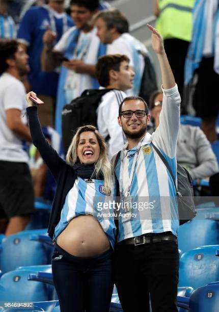 Fans of Argentina celebrate after Argentina wins the 2018 FIFA World Cup Russia Group D match against Nigeria at the Saint Petersburg Stadium in St...