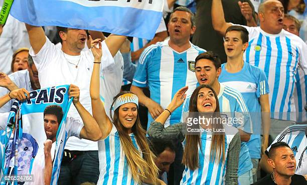 Fans of Argentina celebrate after winning the 2016 Davis Cup Final between Croatia and Argentina on November 27 2016 in Zagreb Croatia