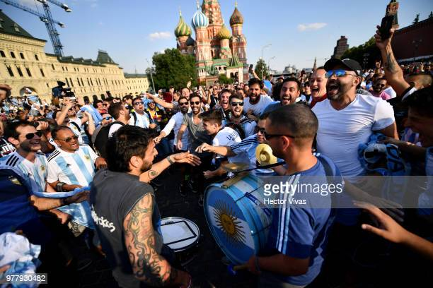 Fans of Argentina cheer at Moscow Red Square durng the FIFA World Cup on June 18 2018 in Moscow Russia