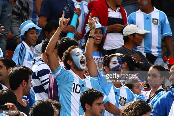 Fans of Argentina cheer for their national team during a match between Bolivia and Argentina as part of the 12th round of the South American...