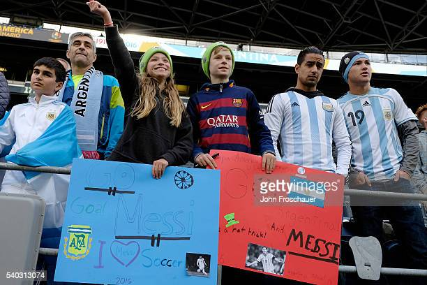 Fans of Argentina cheer for their team before a group D match between Argentina and Bolivia at Century Link Field as part of Copa America Centenario...