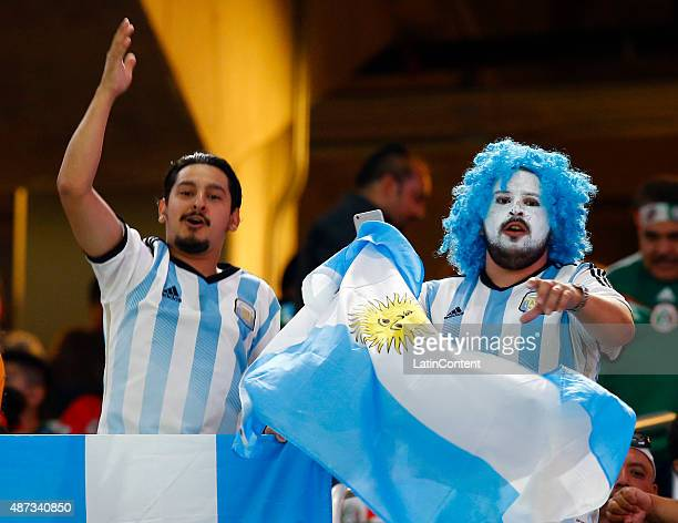 Fans of Argentina cheer for their team before the start of a friendly match between Argentina and Mexico at ATT Stadium on September 08 2015 in...