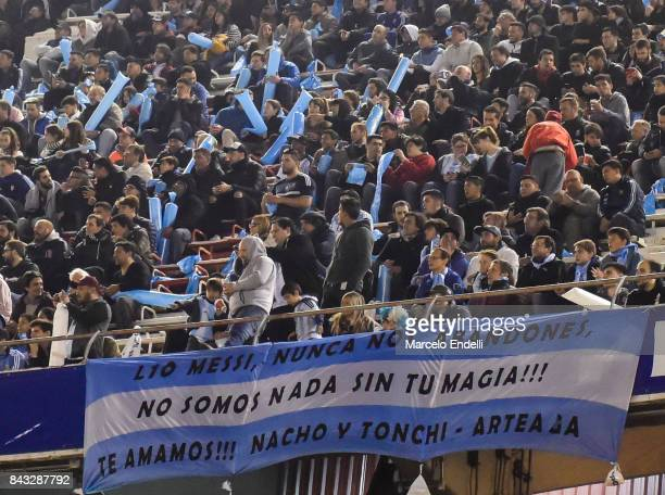 Fans of Argentina display a flag in support of Messi during a match between Argentina and Venezuela as part of FIFA 2018 World Cup Qualifiers at...