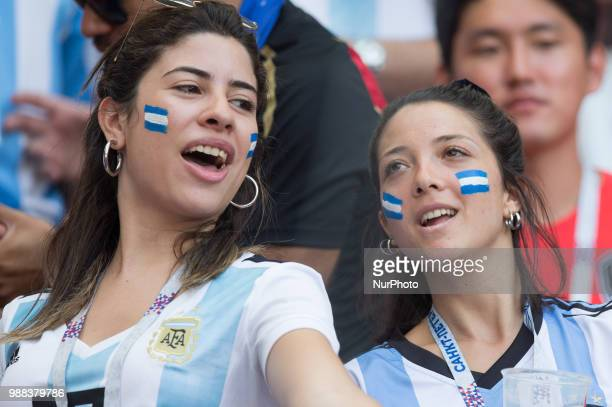 Fans of Argentina during the 2018 FIFA World Cup Russia Round of 16 match between France and Argentina at Kazan Arena on June 30 2018 in Kazan Russia