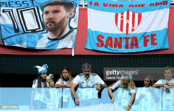 Fans of Argentina enjoy pre match atmospher prior to the 2018 FIFA World Cup Russia group D match between Nigeria and Argentina at Saint Petersburg...