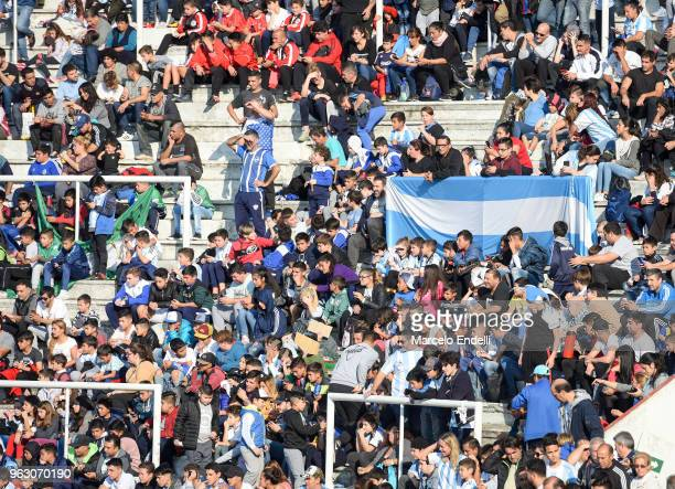 Fans of Argentina enjoy the atmosphere during a training session open to the public as part of the team preparation for FIFA World Cup Russia 2018 at...