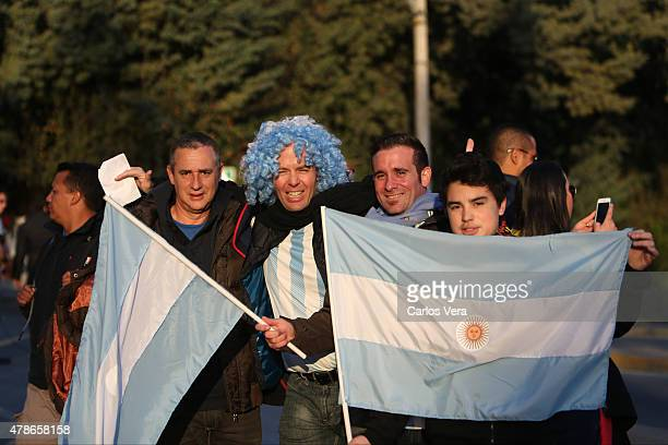 Fans of Argentina enjoy the atmosphere prior the 2015 Copa America Chile quarter final match between Argentina and Colombia at Sausalito Stadium on...