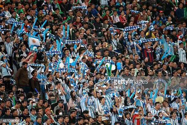 Fans of Argentina react during Super Clasico de las Americas between Argentina and Brazil at Beijing National Stadium on October 11 2014 in Beijing...