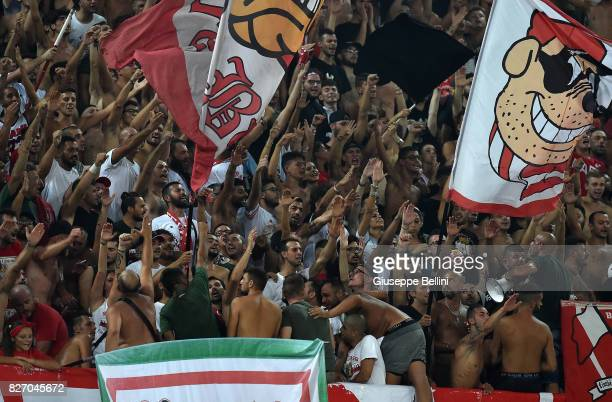 Fans of AS Bari during the TIM Cup match between AS Bari and Parma Calcio at Stadio San Nicola on August 6 2017 in Bari Italy