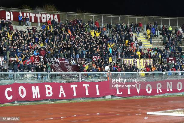 Fans of AS Livorno Calcio during the LegaPro match between AS Livorno v ADC Viterbese at Stadio Armando Picchi on November 8 2017 in Livorno Italy