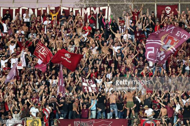 Fans of AS Livorno Calcio during the Serie B match between AS Livorno and Pisa SC at Stadio Armando Picchi on October 26 2019 in Livorno Italy