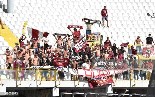 Fans of AS Livorno during the Serie B match between Ascoli Calcio 1898 FC and AS Livorno at Stadio Cino e Lillo Del Duca on September 14 2019 in...