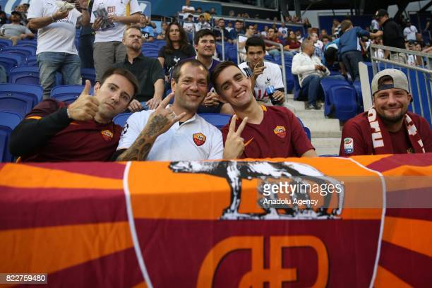 Fans of AS Roma are seen ahead of International Champions Cup 2017 friendly match between Roma and Tottenham at Redbull Arena Stadium in Harrison New...