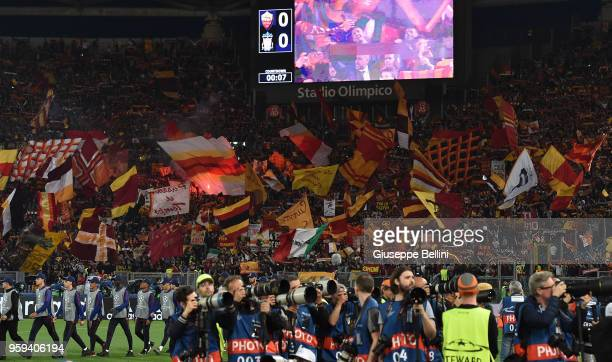 Fans of AS Roma during the UEFA Champions League Semi Final Second Leg match between AS Roma and Liverpool FC at Stadio Olimpico on May 2 2018 in...