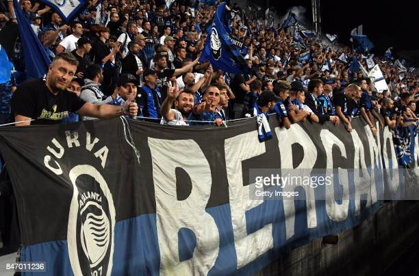 fans of Atalanta during the UEFA Europa League group E match between Atalanta and Everton FC at Stadio Citta del Tricolore on September 14 2017 in...