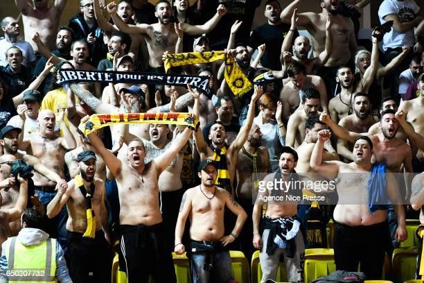 Fans of Athens during the Champions League match between As Monaco and AEK Athens on March 8 2017 in Monaco Monaco