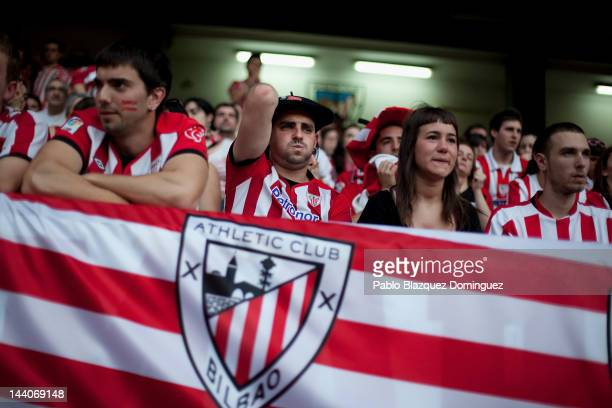 Fans of Athletic Bilbao react in San Mames Stadium during the Europa League Final of Athletic Bilbao against Atletico de Madrid which is being played...