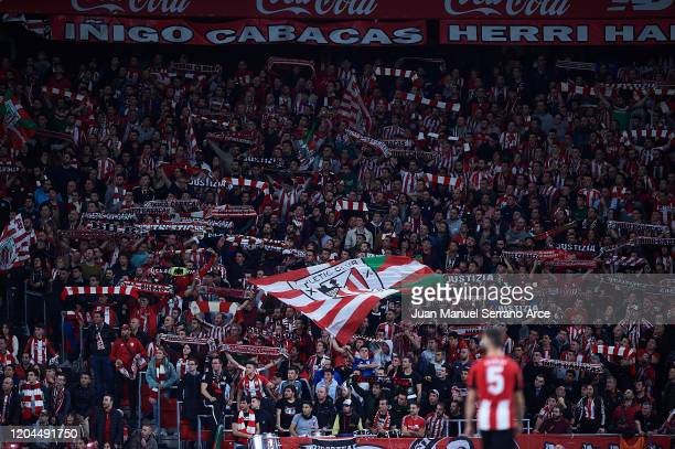 Fans of Athletic Club celebrates a goal from of Athletic Club during the Copa del Rey quarter final match between Athletic Bilbao and FC Barcelona at...